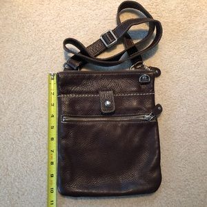 Roots Chocolate Brown Leather Crossbody Bag